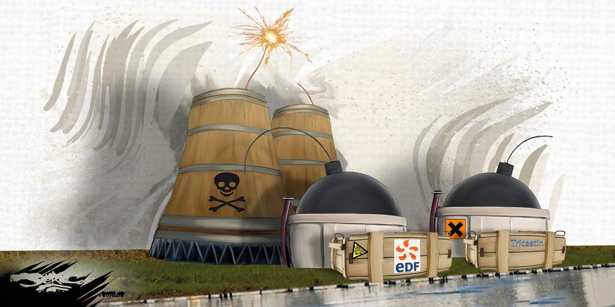 dessin humoristique de la centrale nucléaire du Tricastin, bombe à retardement prête à exploser