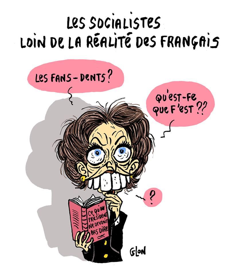 dessin humoristique de Marisol Touraine toutes dents dehors