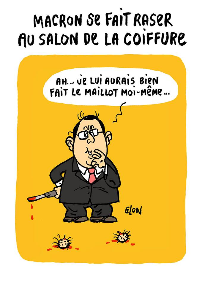 dessin drôle de François Hollande au Salon de la Coiffure