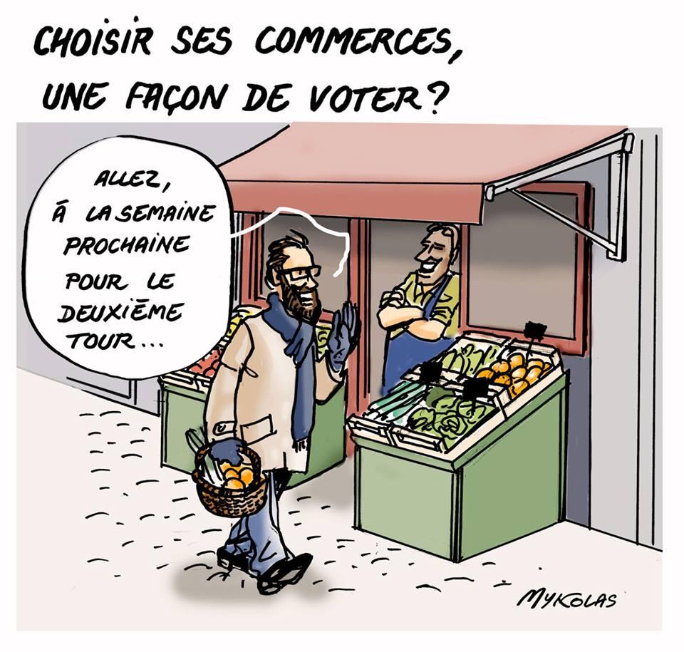 dessin humoristique d'un consommateur choissisant un petit commerce