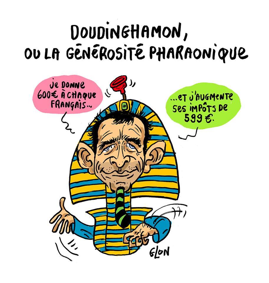 Dessin drôle de Benoît Hamon en Pharaon