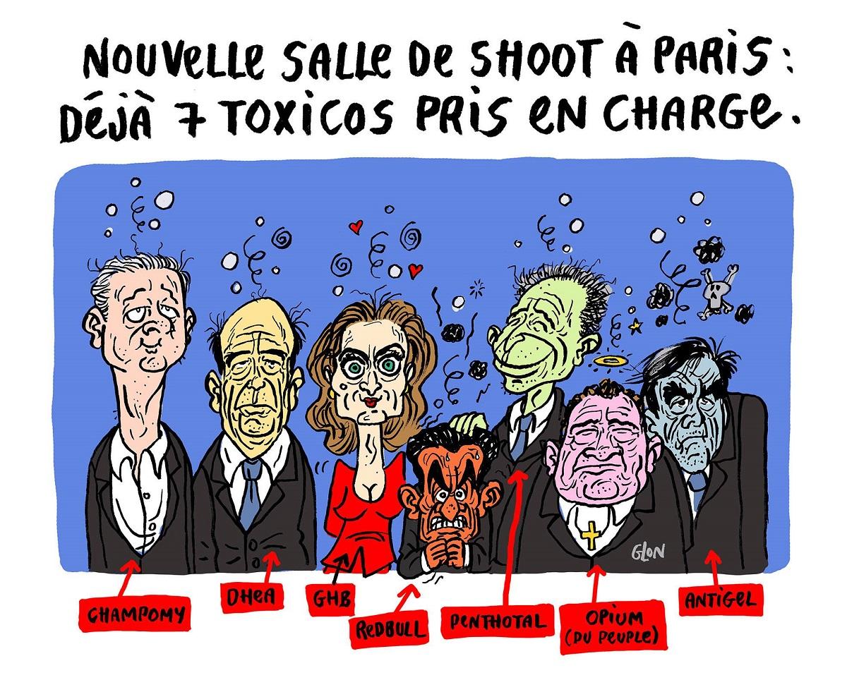 dessin humoristique des candidats de la primaire de la droite en salle de shoot