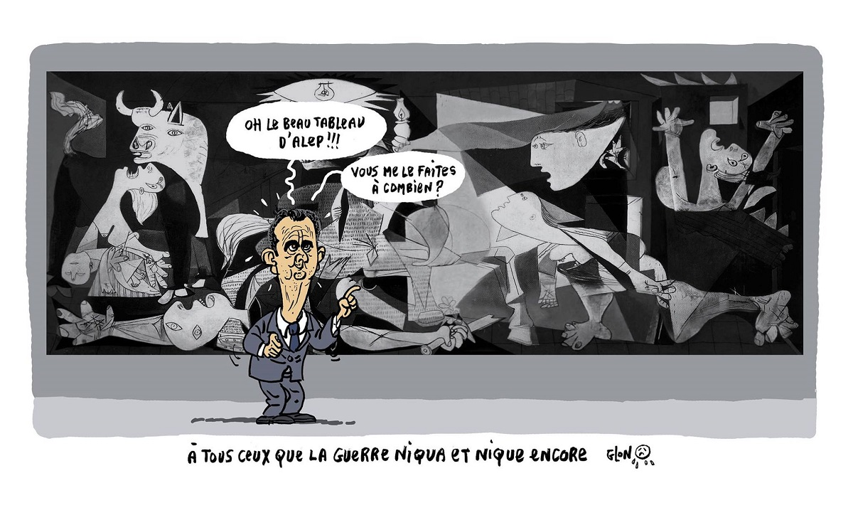 "dessin humoristique de Bachar el-Assad devant le tableau ""Guernica"" de Picasso"