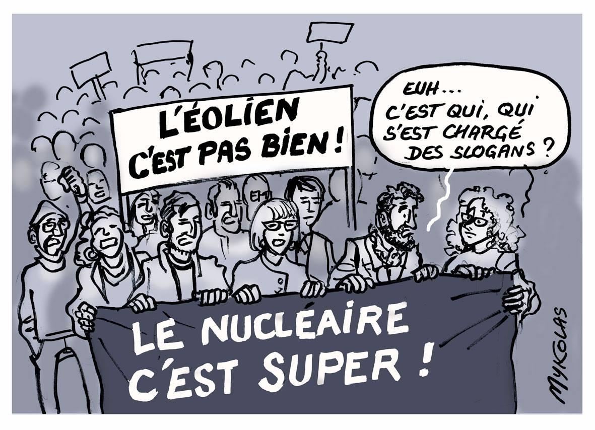 dessin humoristique d'une manifestation anti-nucléaire avec quelques erreurs de slogans