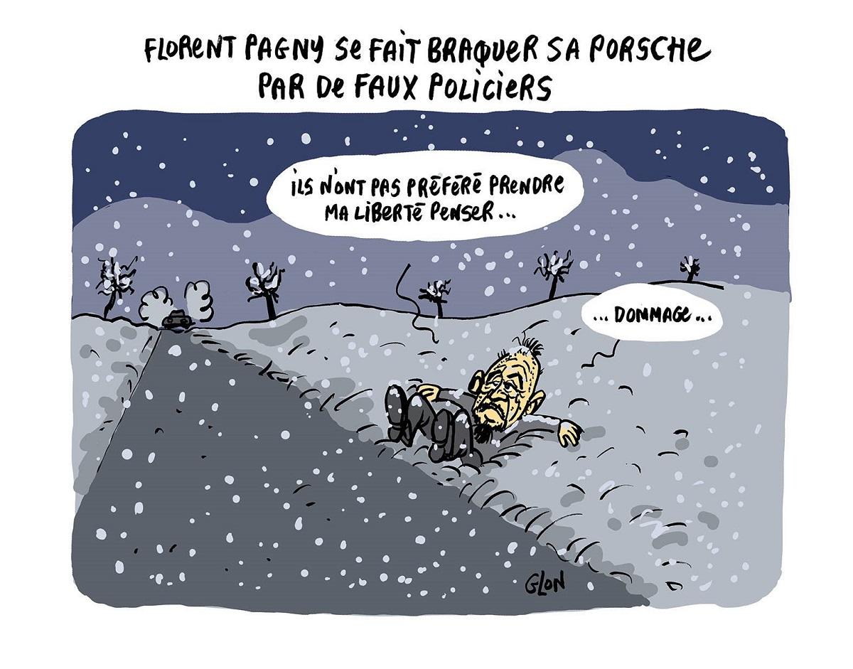 dessin humoristique de Florent Pagny au bord d'une route enneigée sans sa Porsche volée