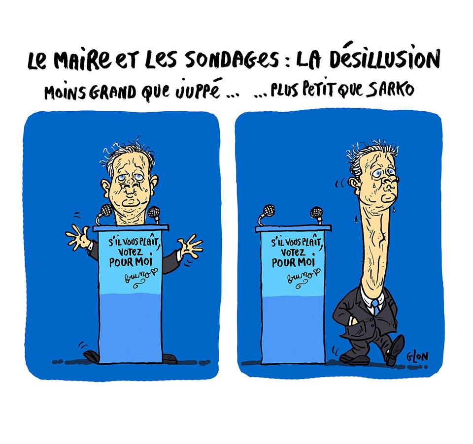 dessin humoristique de Bruno Le Maire lors d'un meeting
