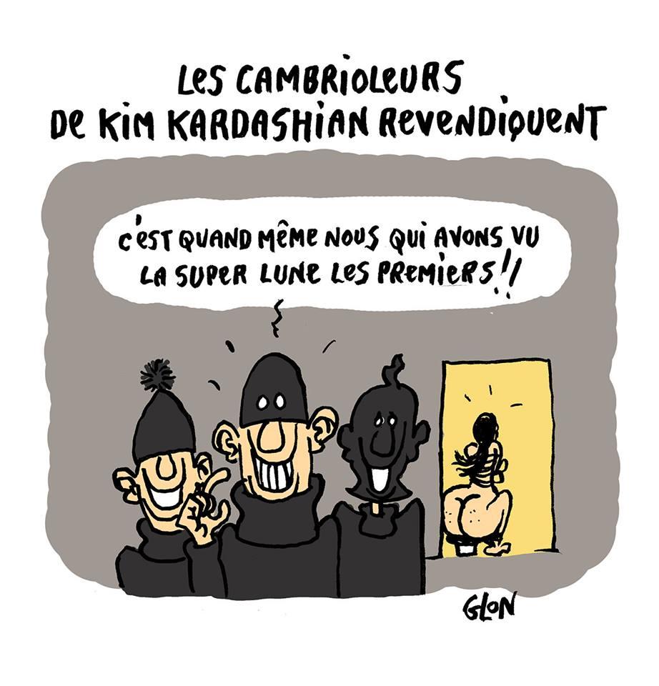 dessin humoristique de cambrioleurs voyant les fesses de Kim Kardashian en exclusivité