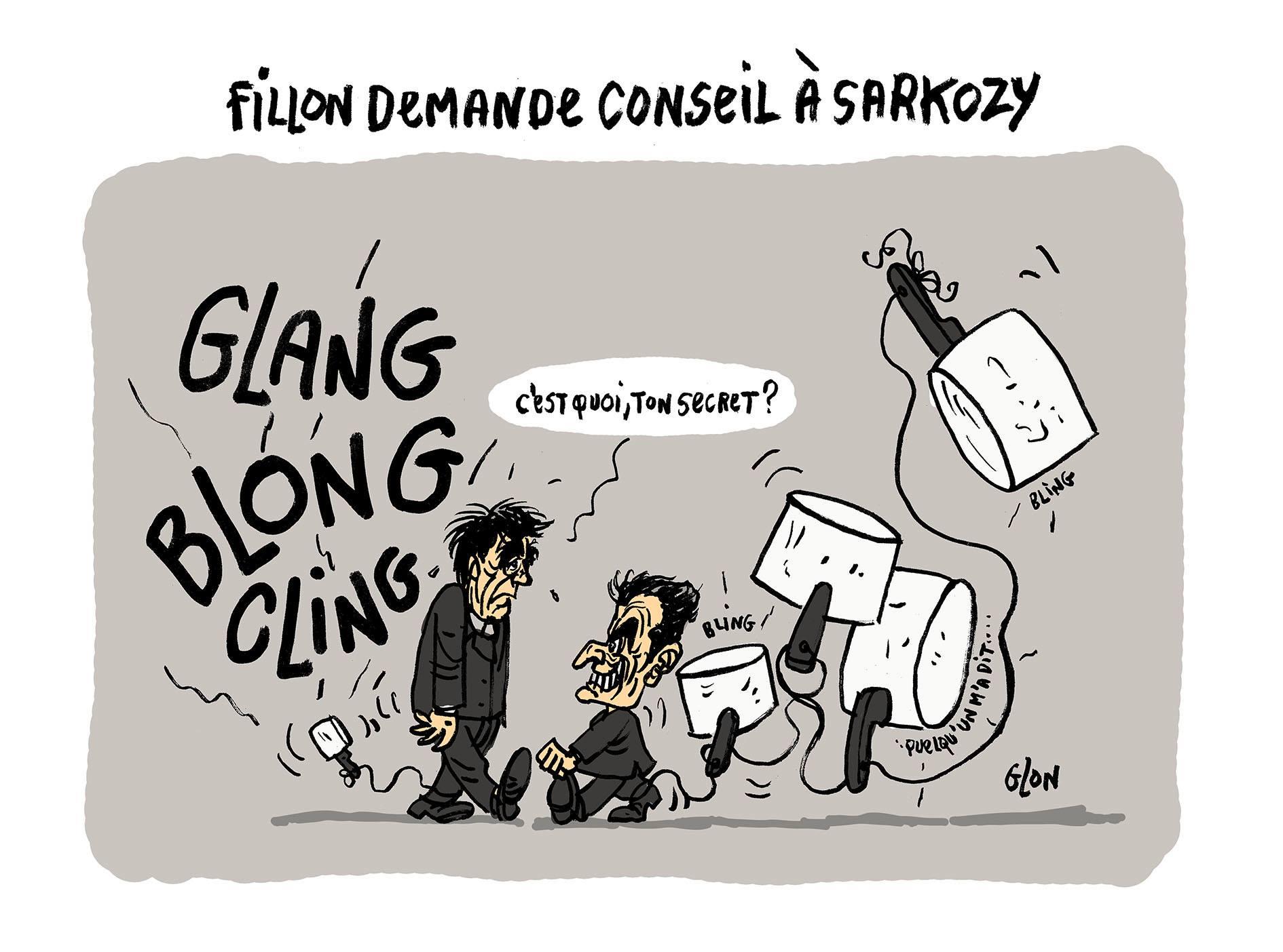 dessin drôle de Nicolas Sarkozy et François Fillon qui traînent leurs casseroles