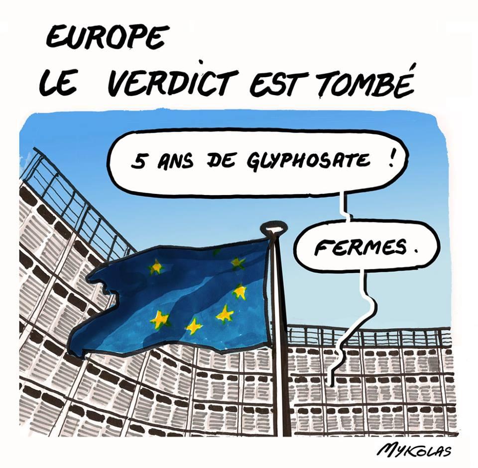 dessin humoristique du Parlement Européen qui nous condamne à 5 ans de Glyphosate