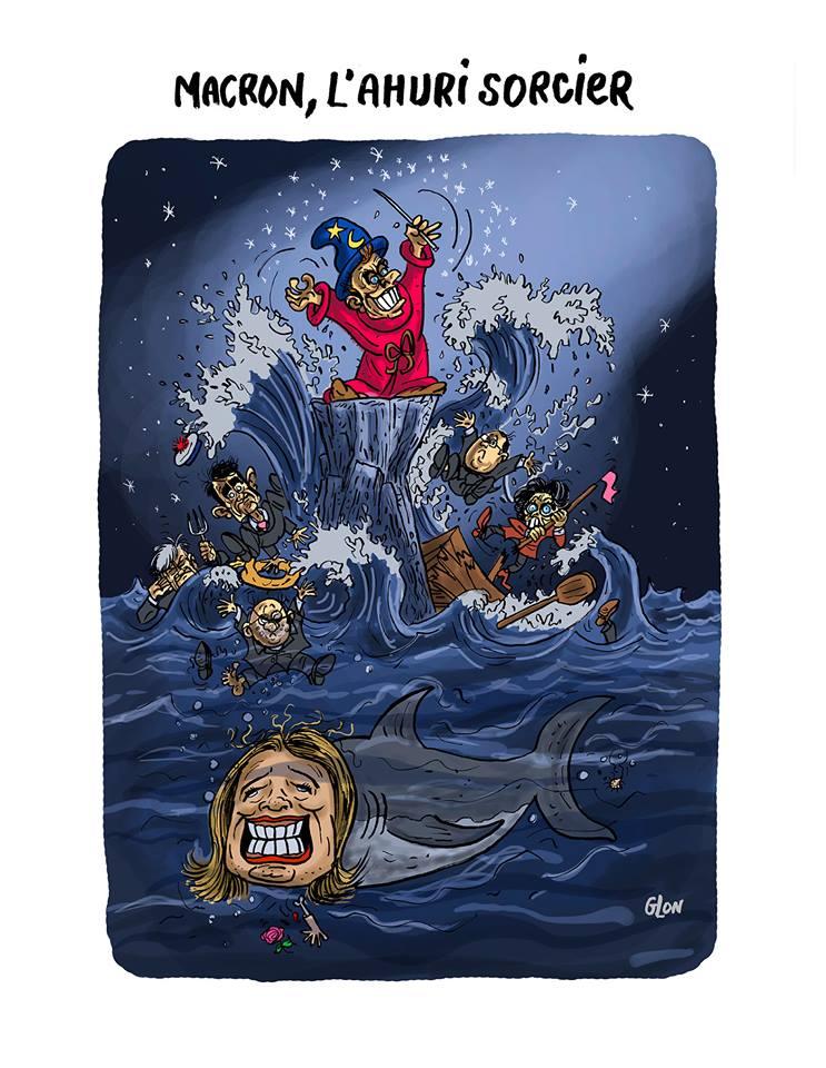 dessin drôle d'Emmanuel Macron en apprenti sorcier de disney