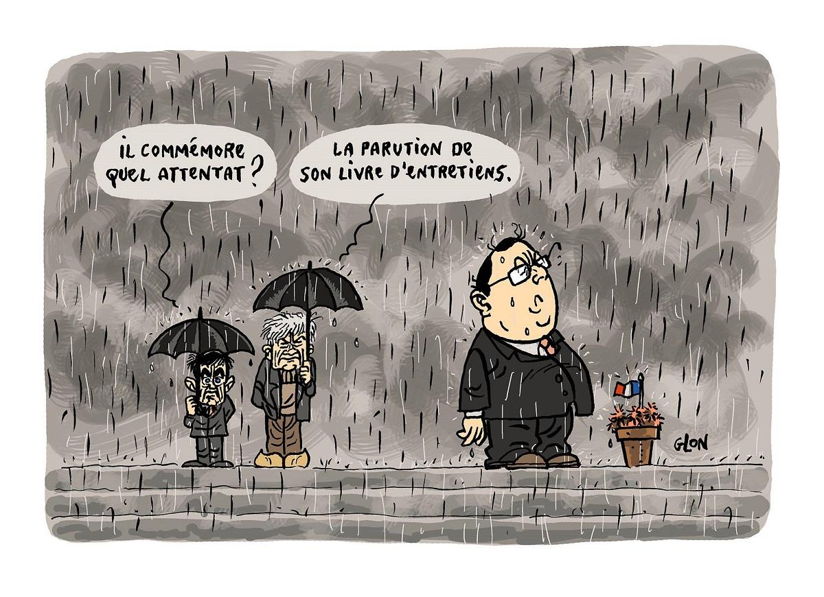 dessin humoristique de François Hollande commémorant l'attentat de la parution de son livre d'entretiens
