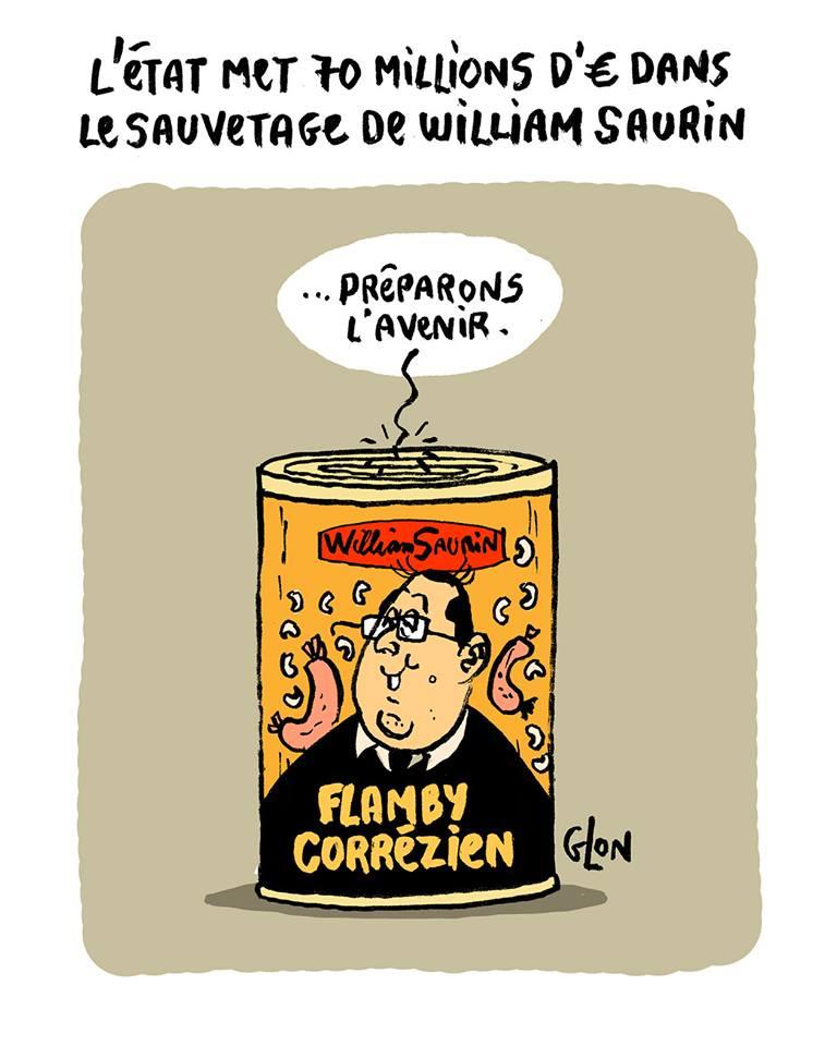 dessin humoristique d'une boîte de flamby corrézien de William Saurin