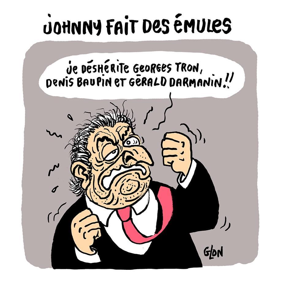 dessin humoristique de Dominique Strauss-Kahn déshéritant Georges Tron, Denis Baupin et Gérald Darmanin