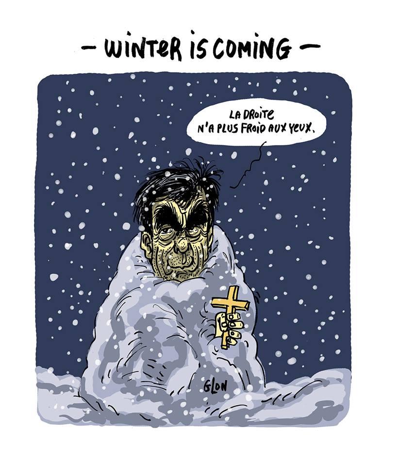 dessin humoristique de François Fillon en bonhomme de neige