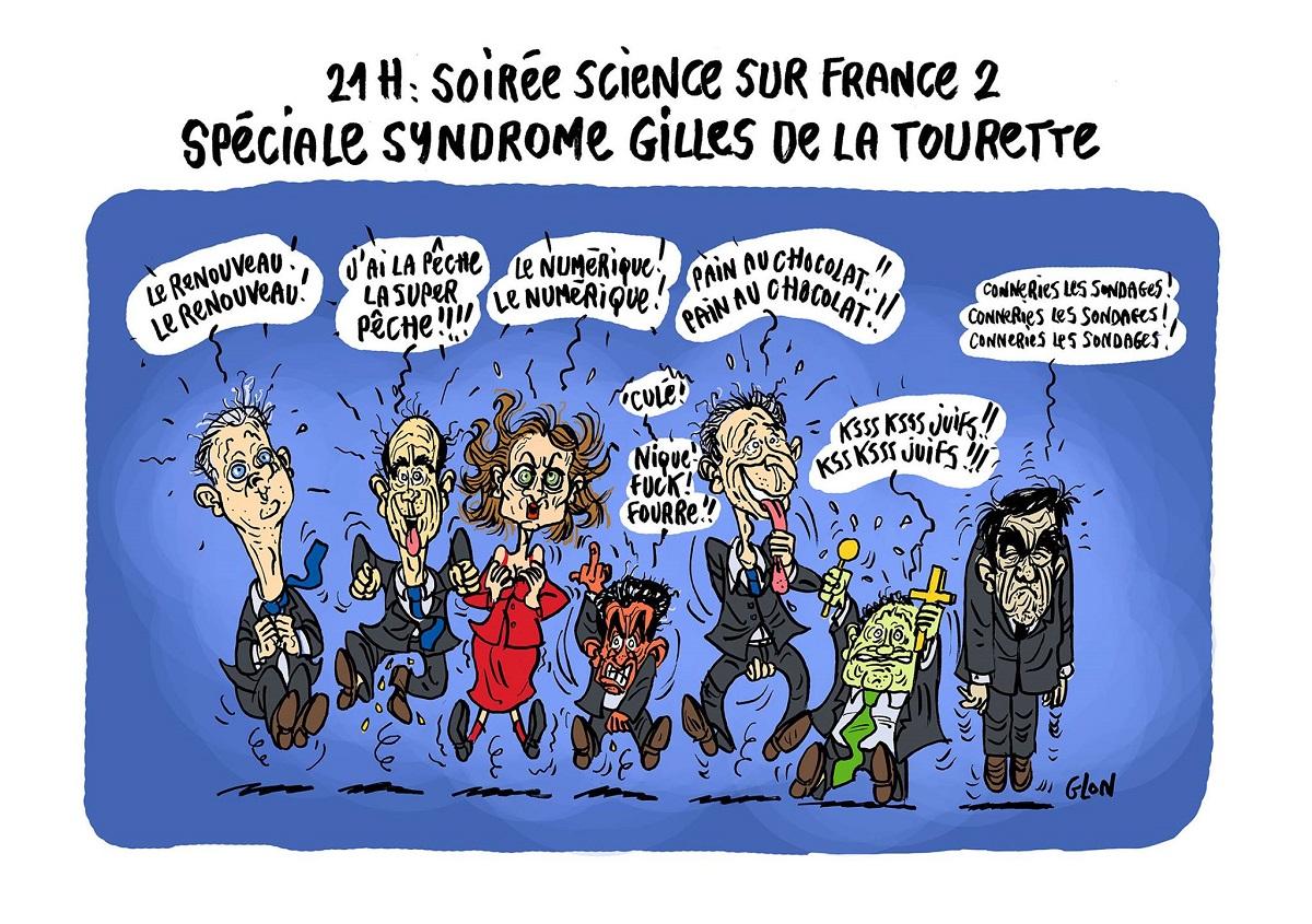 dessin humoristique des candidats de la primaire de la Droite