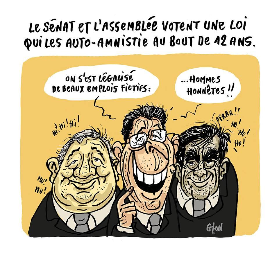dessin humoristique de Gérard Larcher, Patrick Balkany et François Fillon en train de s'auto-amnistier