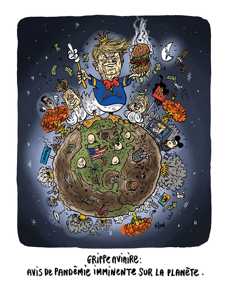 dessin humoristique de Donald Trump en canard sur une planète en danger