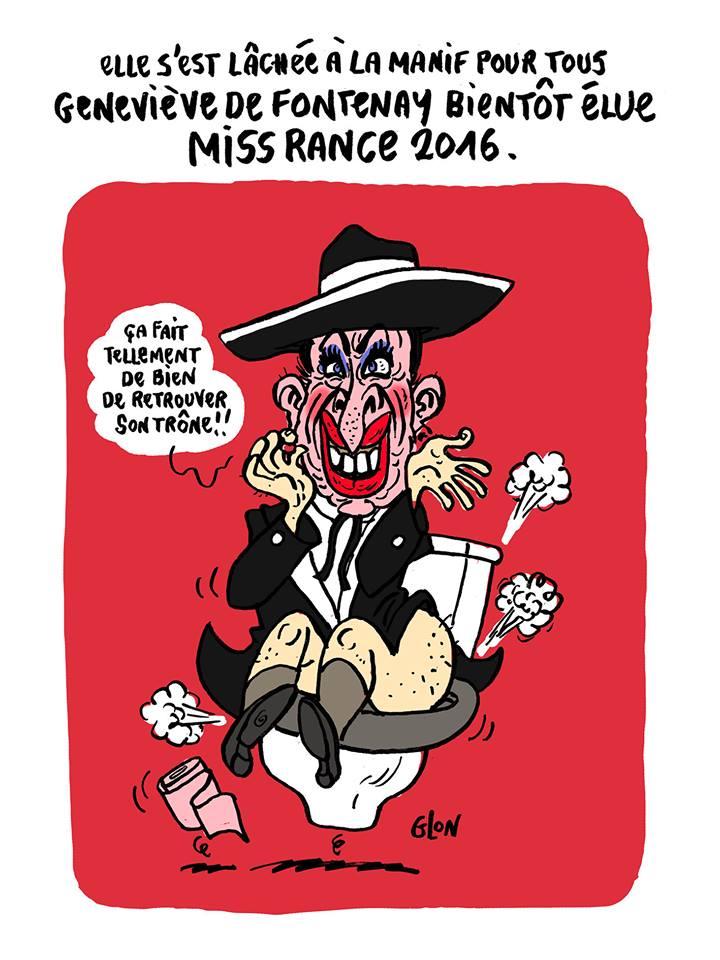 dessin humoristique de Geneviève de Fontenay sur son trône de toilettes
