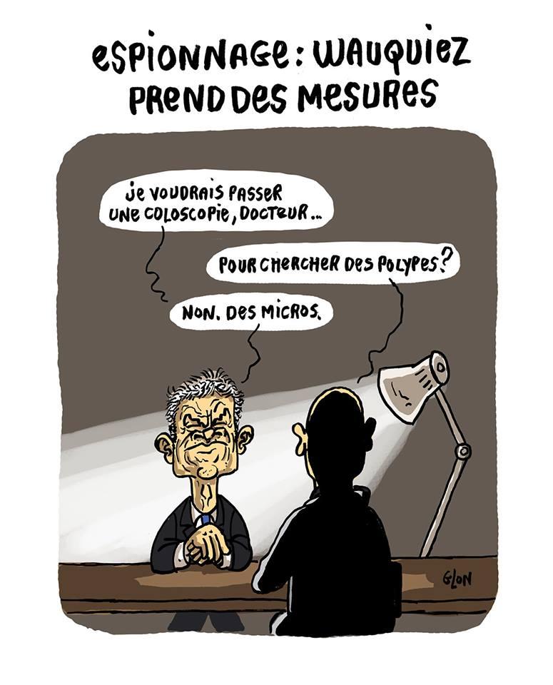 dessin humoristique de Laurent Wauquiez demandant une coloscopie parce qu'il pense être truffé de micros