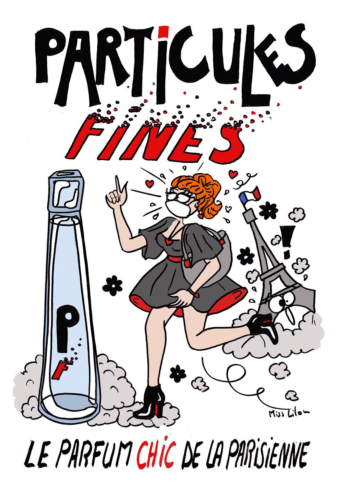 dessin humoristique d'une parisienne parfumée aux particules fines de la pollution