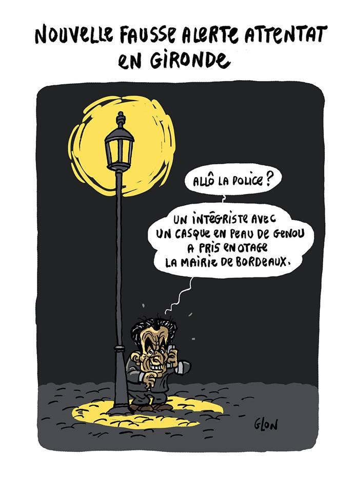 dessin humoristique de Nicolas Sarkozy dénonçant Alain Juppé comme intégriste