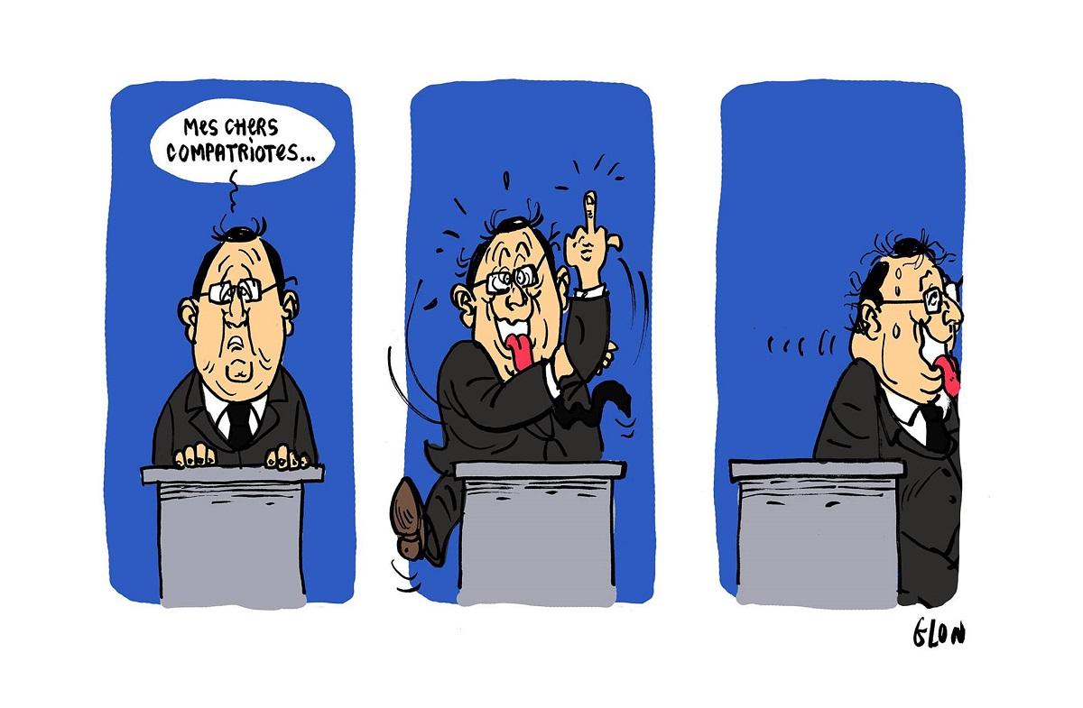 dessin humoristique de François Hollande faisant un doigt d'honneur aux Français