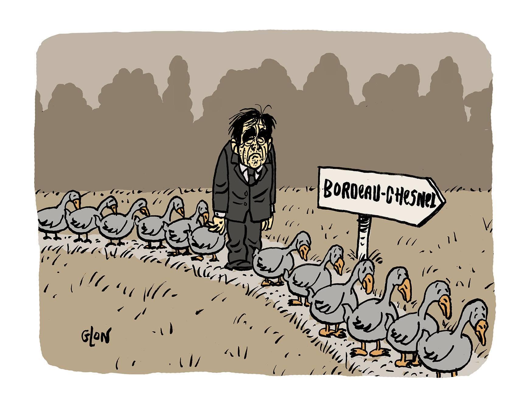 dessin humoristique de François Fillon en route vers l'abattoir à canard