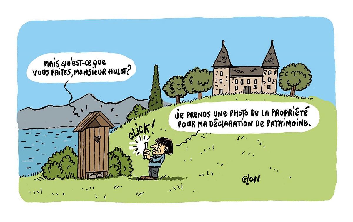 dessin humoristique de Nicolas Hulot en train de sous-estimer son patrimoine