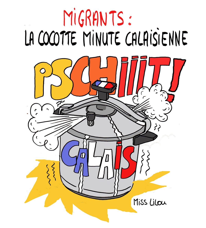 dessin humoristique de la cocotte-minute calaisienne au bord de l'explosion