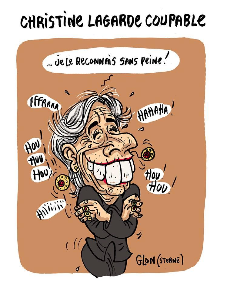 dessin humoristique de Christine Lagarde qui se moque de la décision de justice