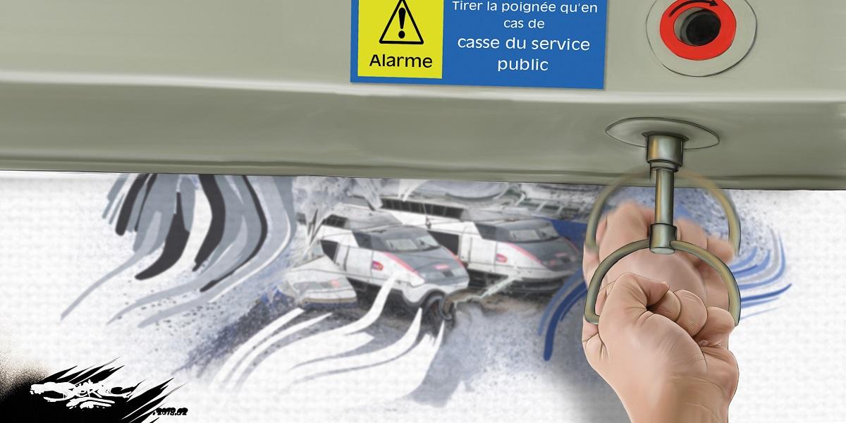 dessin humoristique d'une alarme de la SNCF informant du casse du service public