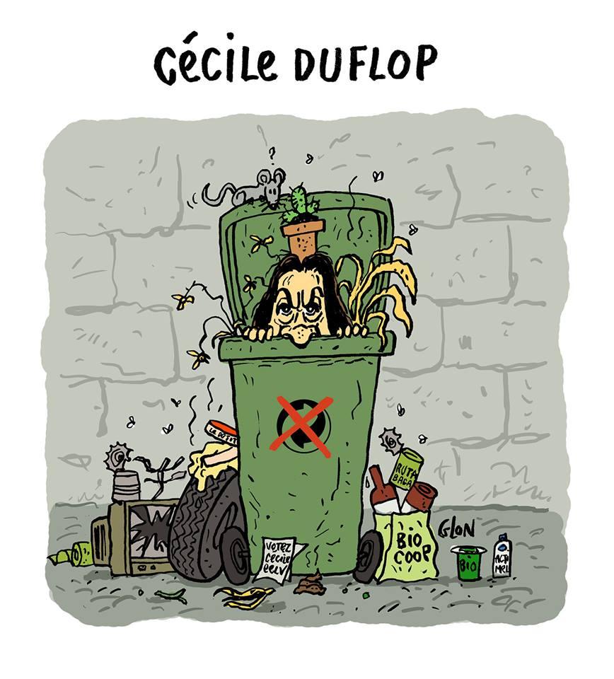dessin drôle de Cécile Duflot dans une poubelle non-recyclable