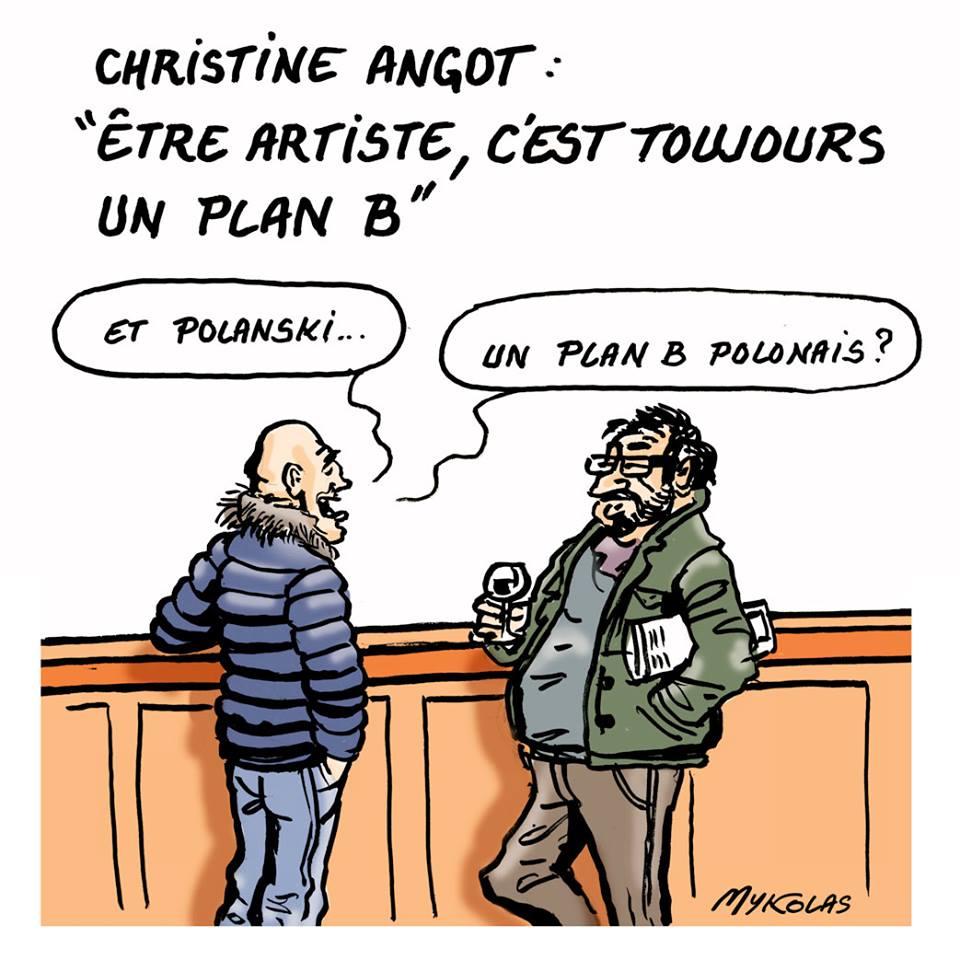 dessin humoristique de café du Commerce où les consommateurs commentent le plan B de Christine Angot