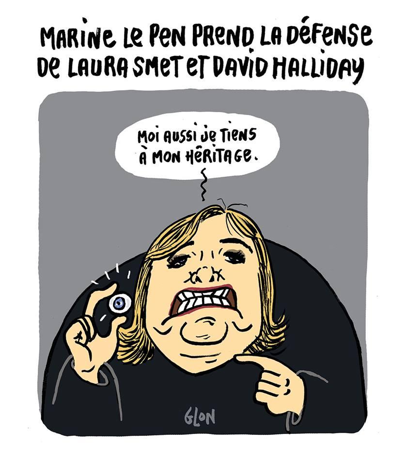 dessin humoristique de Marine Le Pen qui montre l'oeil de verre de Jean-Marie Le Pen comme son héritage