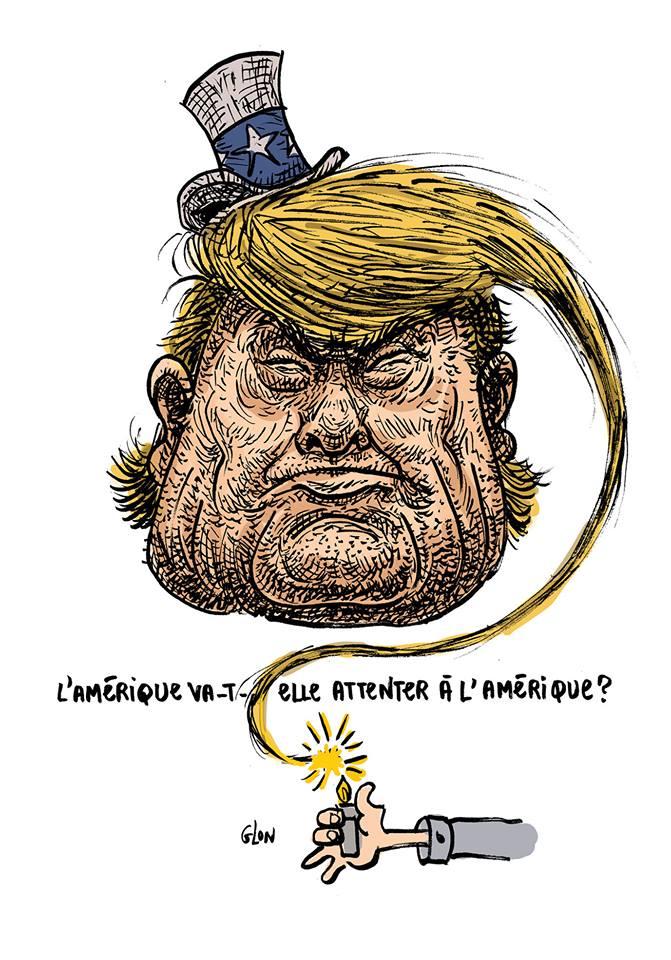 dessin drôle de Donald Trump en bombe dont la chevelure est une mèche
