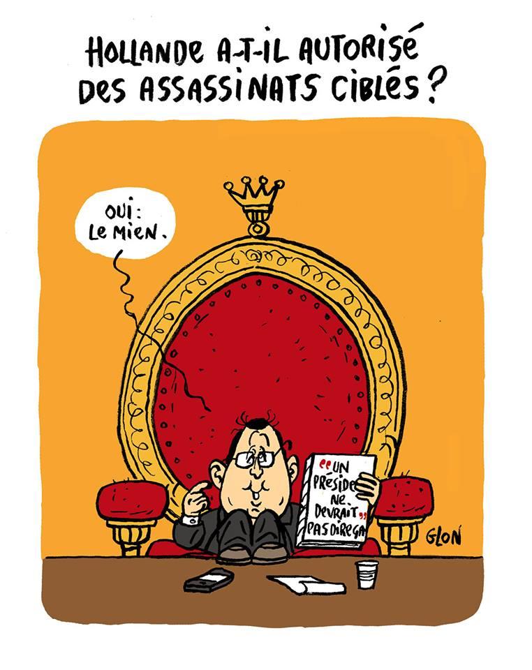 """dessin humoristique de François Hollande qui parle de son livre """"un président ne devrait pas dire ça"""""""