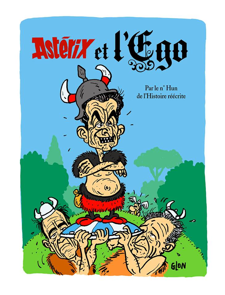 dessin humoristique de Nicolas Sarkozy en couverture du libre Astérix et l'Ego