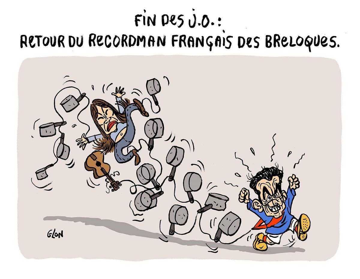dessin humoristique de Nicolas Sarkozy champion de France des casseroles