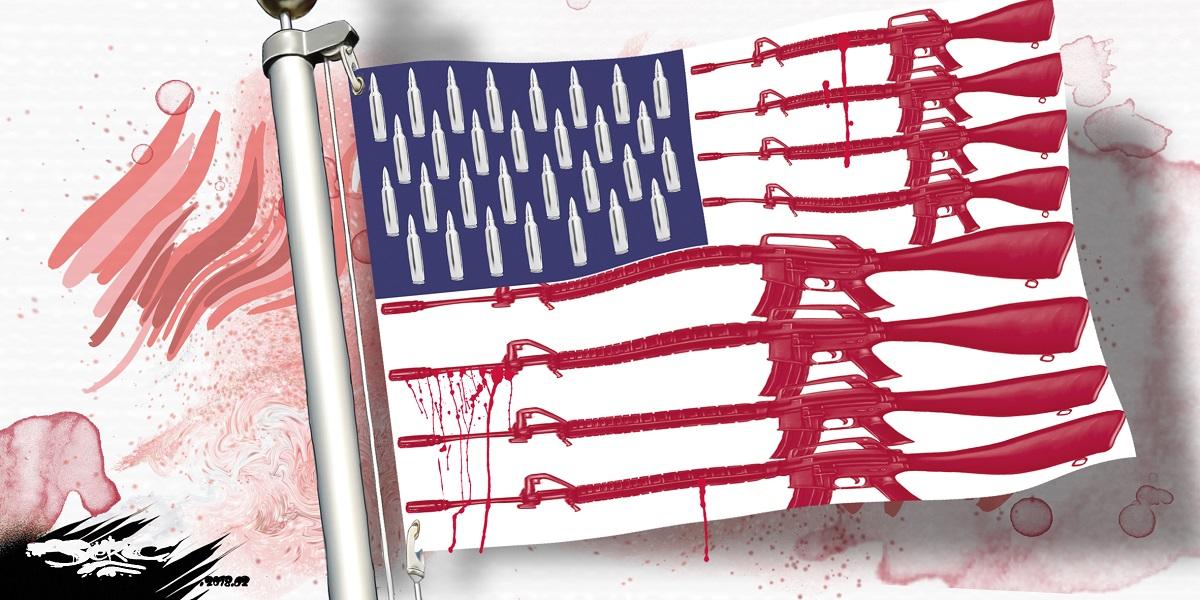 dessin humoristique du drapeau américain avec des armes et des balles