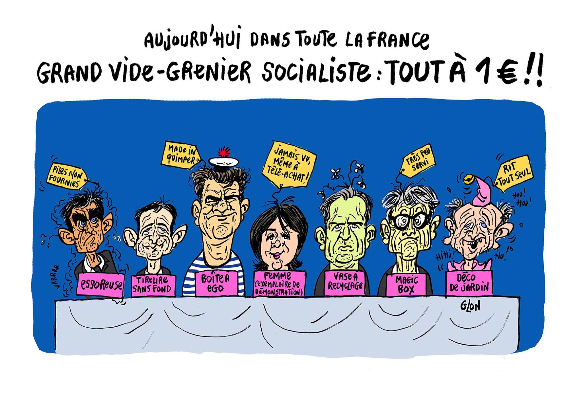 dessin humoristique des candidats à la primaire socialiste