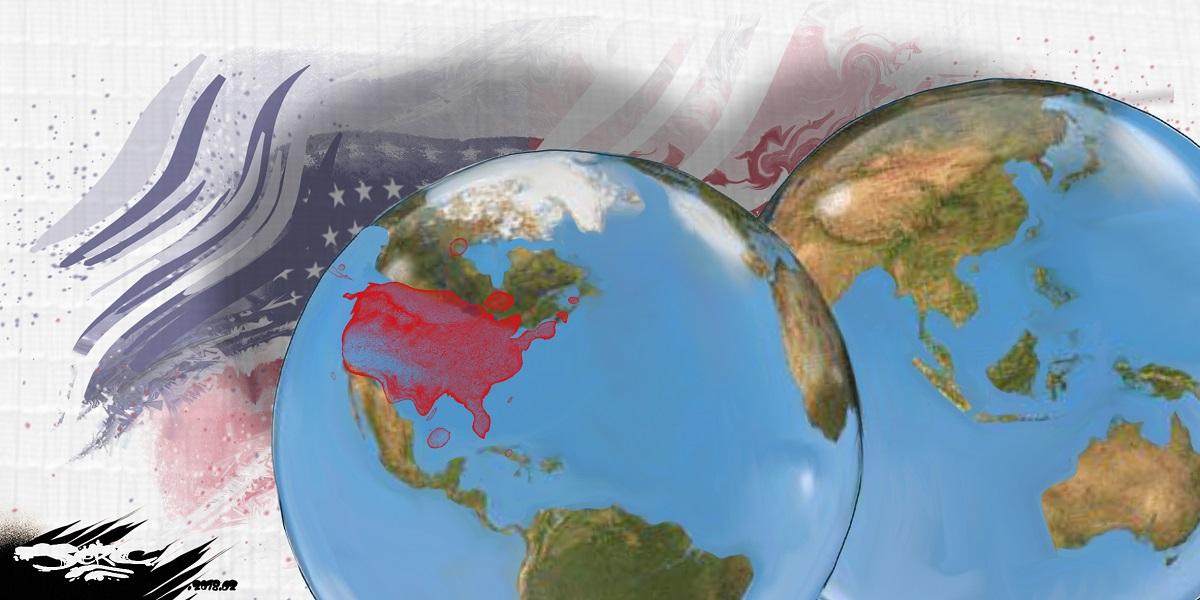 dessin humoristique de la Terre avec le point chaud des Etats-Unis d'Amérique