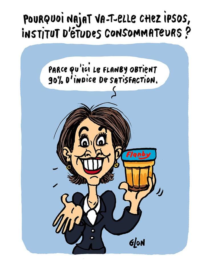 dessin humoristique de Najat Vallaud-Belkacem présentant fièrement un Flanby apprécié par les consommateurs