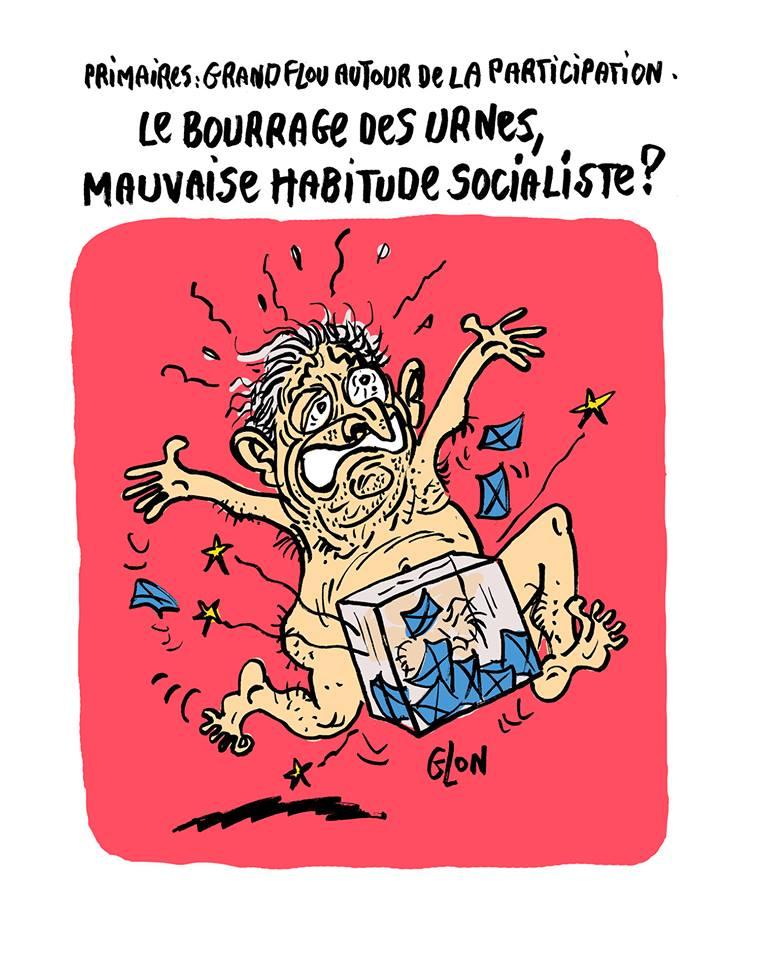 dessin humoristique de Dominique Strauss-Kahn le sexe coincé dans une urne électorale