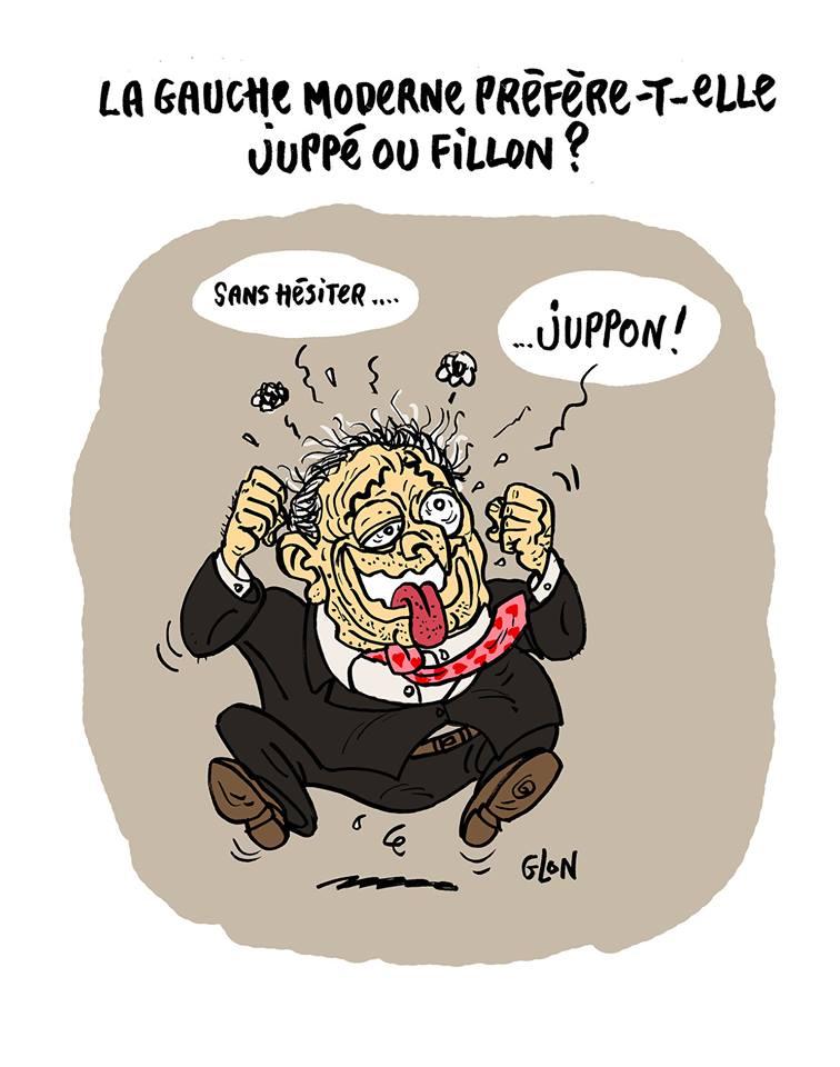 dessin humoristique de Dominique Strauss-Kahn prêt à voter Juppon