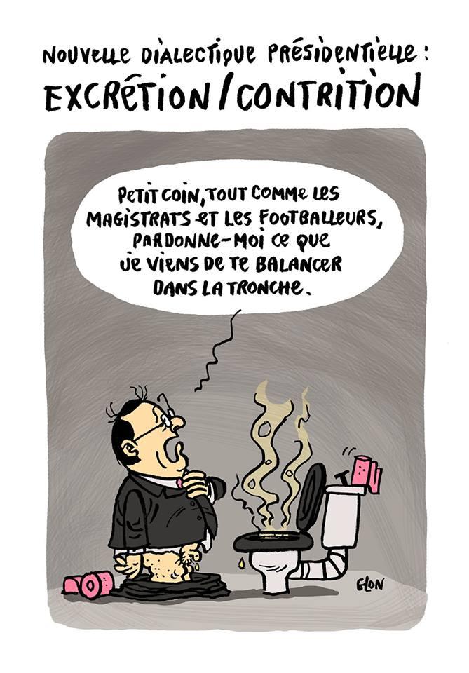 dessin drôle de François Hollande aux toilettes