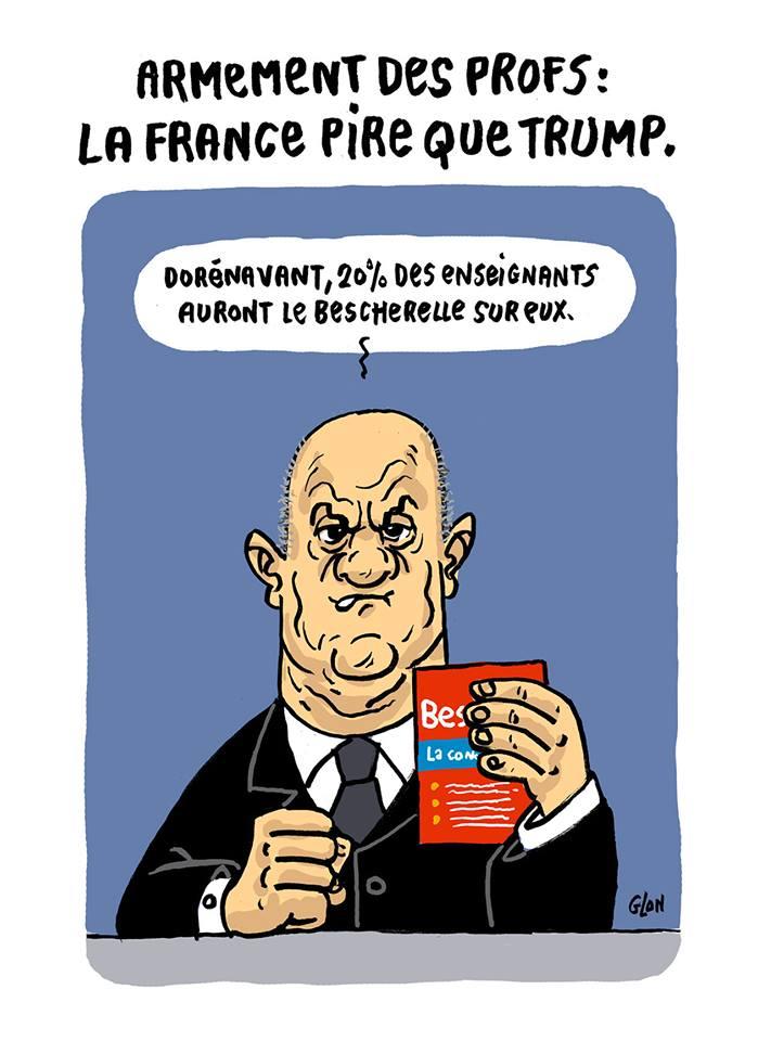 dessin humoristique de Jean-Michel Blanquer brandissant le Bescherelle comme armement des professeurs