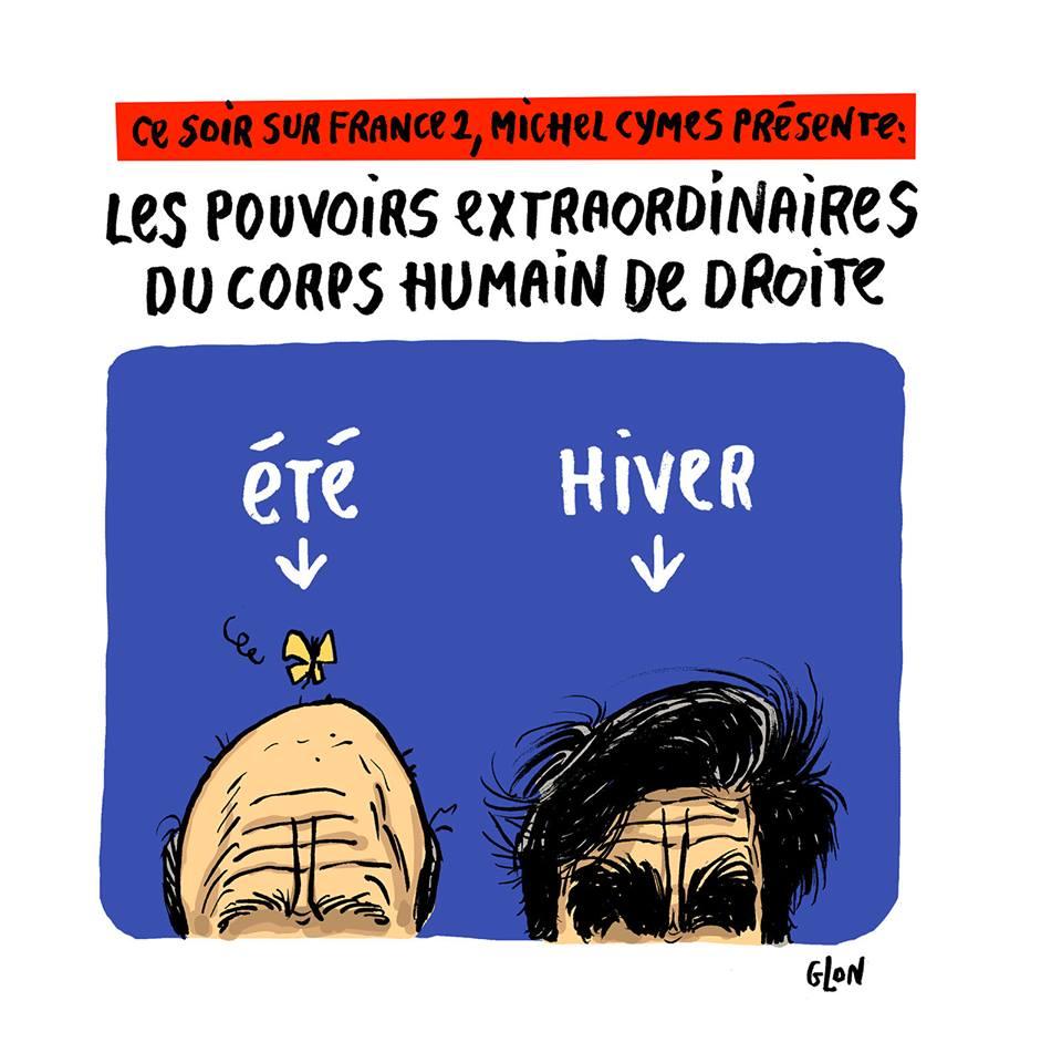 dessin humoristique du crâne d'Alain Juppé et du crâne de François Fillon