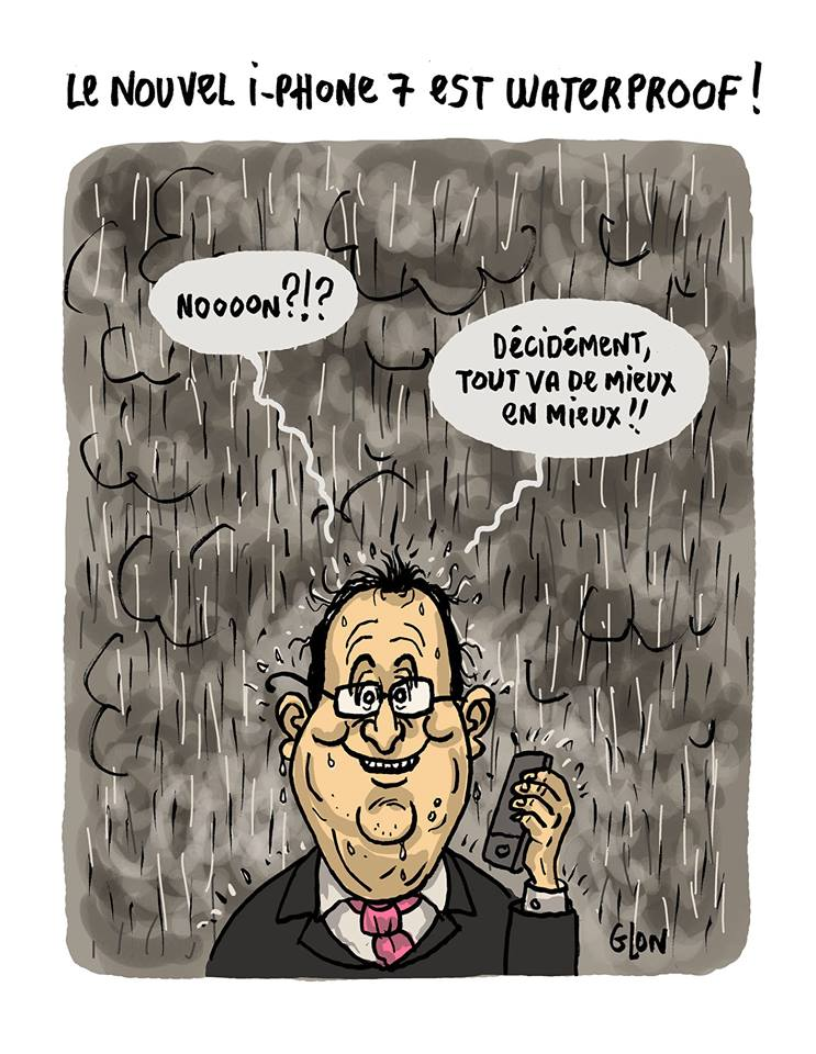 dessin drôle de François Hollande avec l'iPhone 7 waterproof