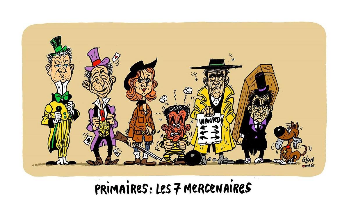 dessin humoristique des candidats de la primaire de la Droite en personnages de Lucky Luke