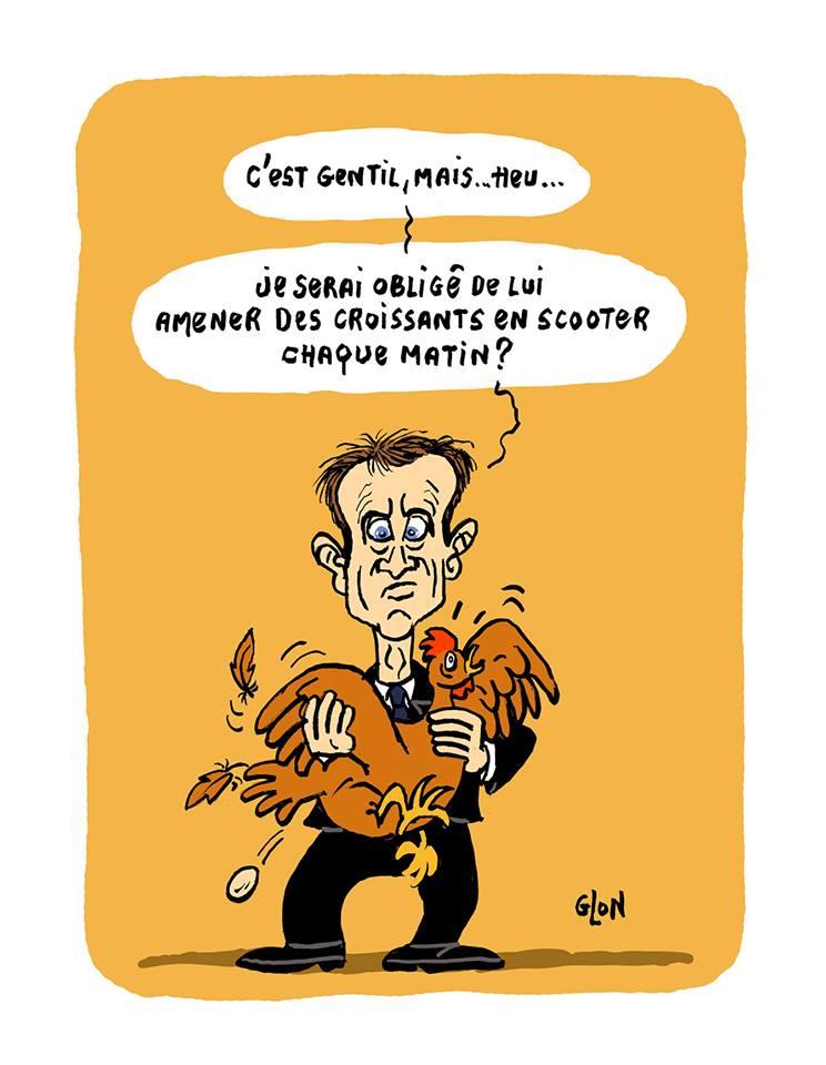 dessin humoristique d'Emmanuel Macron au Salon de l'agriculture avec une poule dans les bras